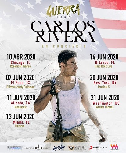 CARLOS RIVERA regresa a Estados Unidos con su gira GUERRA