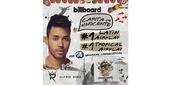 """PRINCE ROYCE es #1 en la radio de Estados Unidos y Puerto Rico con su bachata """"CARITA DE INOCENTE"""" marcando su duodécimo #1 en el listado """"Latin Airplay"""" de Billboard"""